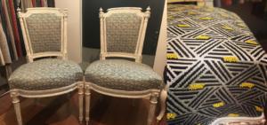 Chaises Louis XVI recouvertes d'un tissu Designer's Guild
